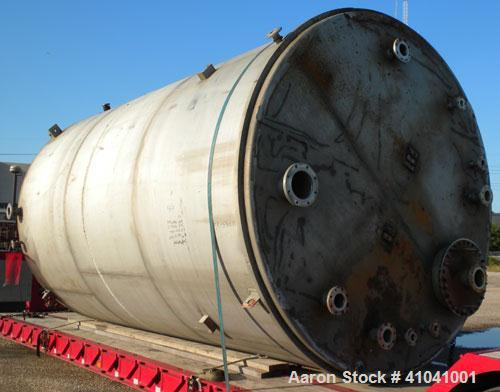 """Used- Evans & Sons Process Tank Company Tank, 12,000 gallon, 316 stainless steel, vertical. 132"""" diameter x 216"""" straight si..."""