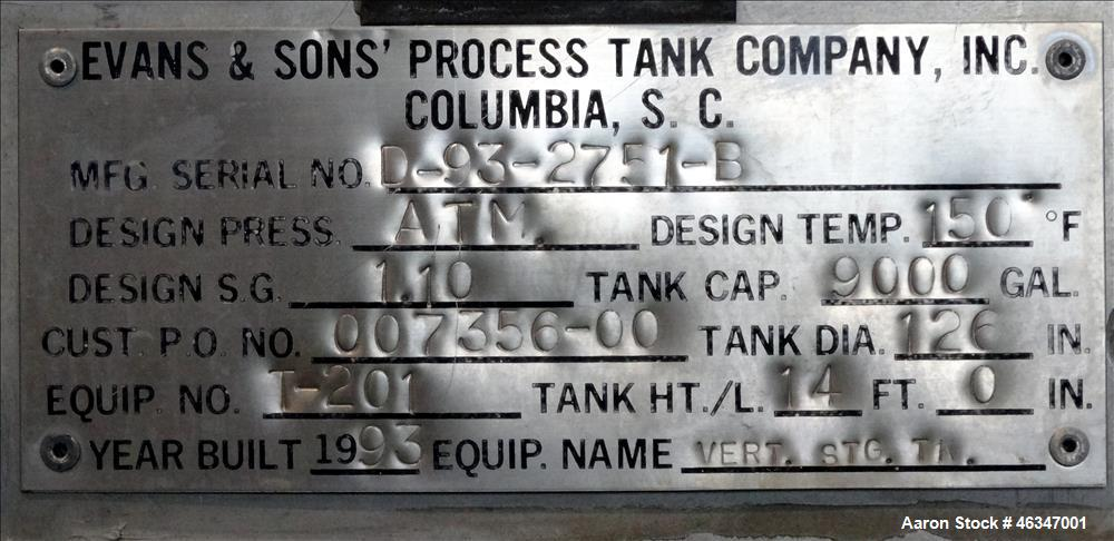 """Used- Evans & Sons Tank, 9000 Gallon, 316 Stainless Steel, Vertical. Approximate 126"""" diameter x 168"""" straight side, flat to..."""