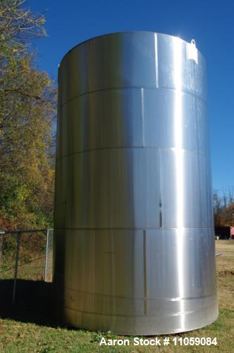 "Used- Feldmeier Tank, 16,000 Gallon (approximately) Stainless Steel. Slant bottom, cone top. 12 '6"" diameter x 17'6"" on outl..."
