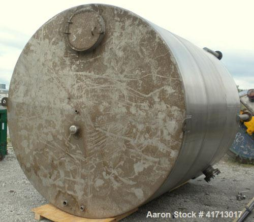 """Used- Filpaco Industries Tank, Approximate 6,000 Gallon, 304 Stainless Steel, Vertical.  Approximate 114"""" diameter x 132"""" st..."""