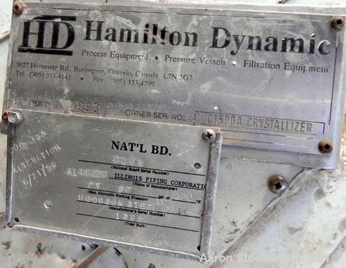 "Used- Hamilton Dynamic Crystallizer Pressure Tank, 5,300 Gallon, 304L Stainless Steel, Vertical. 96"" Diameter x 156"" straigh..."