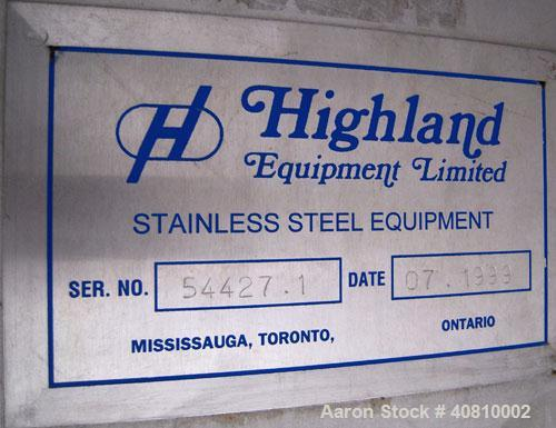 """Used- Highland Equipment Limited Tank, 11,887 Gallon, 304 Stainless Steel, Vertical.  132"""" diameter x 180"""" straight side, co..."""