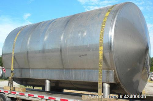"Used- Inox-Tech Tank, 6000 Gallon, Model ASHS6000USG, 304 Stainless Steel, Horizontal. 97-1/2"" Diameter x 180"" straight side..."