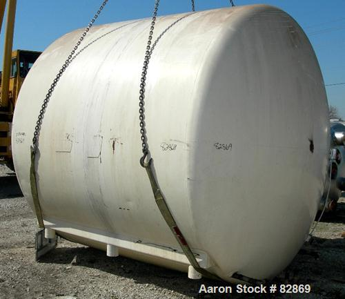 "Used- Chester Jensen Tank, 5,000 gallon, Model AHC, 304 stainless steel, horizontal. 114"" diameter x 98"" straight side, dish..."