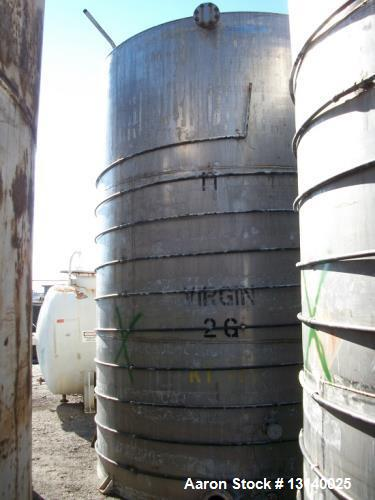 "Used- Joseph Oat and Sons Vertical Storage Tank. Approximately 8000 gallon, stainless steel. 10' diameter x 13'-6"" high stra..."