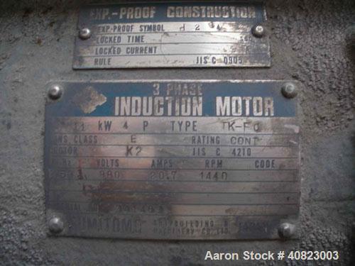 Used- Kotobuki Tank, 5555 Gallon ( 21,000 liter), stainless steel, vertical. Sumitomo motor 11 kW (14.5 hp), 380V, 1440 rpm,...