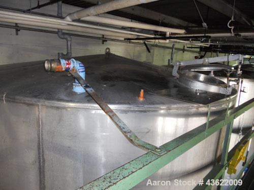 Used- Krenz approx. 10,000 gallon stainless steel storage tank. Approx. 12' diameter x 12' straight side. Flat bottom and sl...