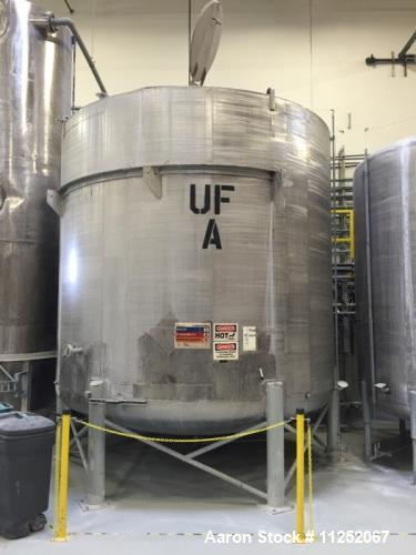 Used- 8,800 Gallon Holding Tank. 304 stainless steel, made by Letsch Corporation. Rated for atmospheric pressure at 200 degr...