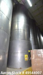 "Used- Tank, Approximate 19,500 Gallon, 14 Gauge Stainless steel, Vertical. Approximate 130"" diameter x 336"" straight side, c..."