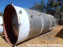 Used- Tank, 12,000 Gallon, 304 Stainless steel. 10 diameter  X 22 8 High. Single Wall, Cone Bottom With Skirt Bottom. (2) St...