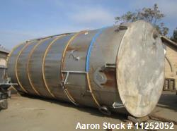 Trumbo Welding Fabricating 13,900 Gallon 304 Stainless Steel Mix Tank. Bottom mounted heating / coo...