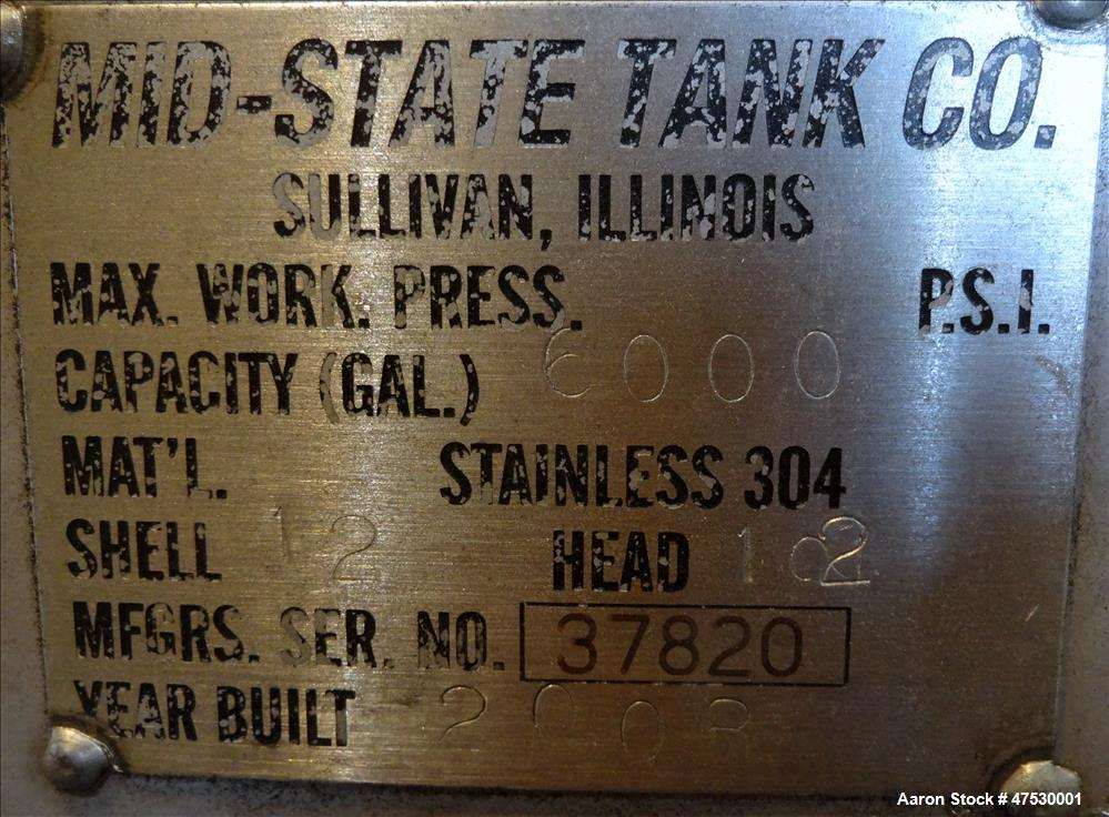 Used- Mid-State Tank, 6000 Gallon, 304 Stainless Steel, Vertical.