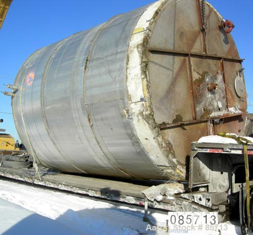 "USED: Missouri Tank & Boiler tank, 16,000 gallon, 304 stainless steel, vertical. 13' diameter x 194"" straight side. Flat top..."