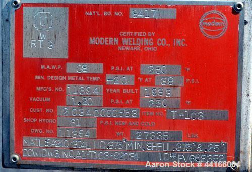 "Used- Modern Welding Pressure Tank, 25,000 Gallons, 304L Stainless Steel, Horizontal. 138"" Diameter x 360"" straight side, AS..."