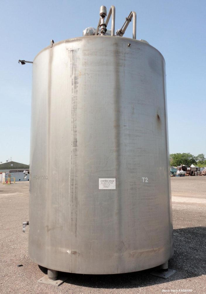 """Used- Mueller Storage Tank, 6,000 Gallon, Model D, 304 Stainless Steel, Vertical. 112"""" Diameter x approximate 135"""" straight ..."""