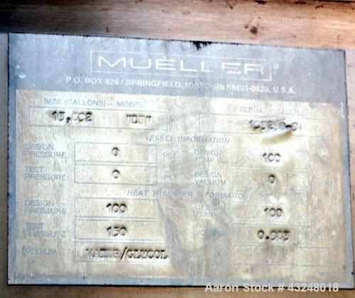 "Used- Mueller Tank, 13,892 Gallon, Model DF, Stainless Steel, Vertical. Approximate 144"" diameter x 198"" straight side. Off ..."