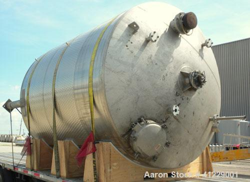 Used- Mueller Jacketed Tank, 5000 gallon, 304 stainless steel, vertical. 109'' diameter x 123'' straight side, dish top and ...