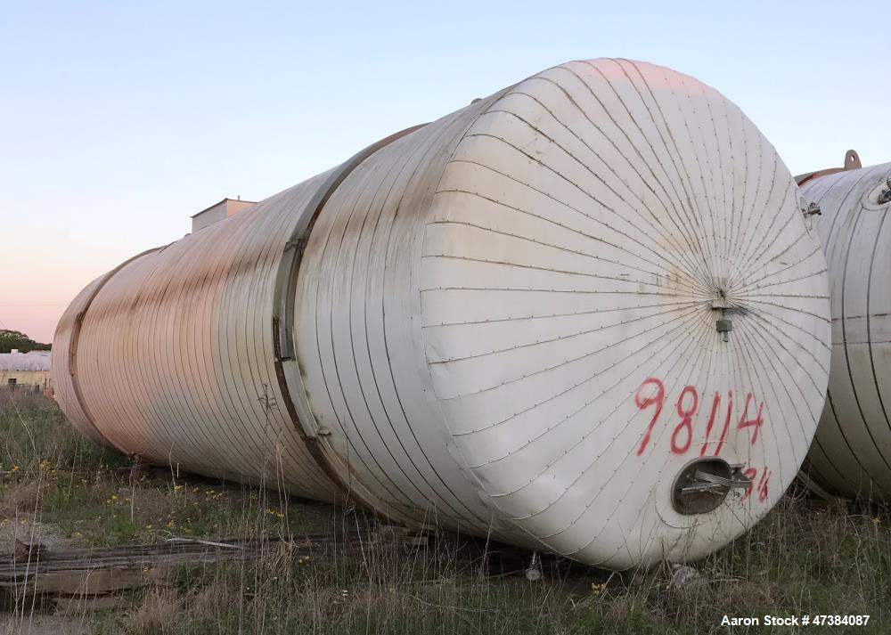 """Used- Mueller Tank, 45,000 Gallon, Model H, 316L Stainless Steel, Horizontal. Approximate 148-1/2"""" diameter x 564"""" straight ..."""
