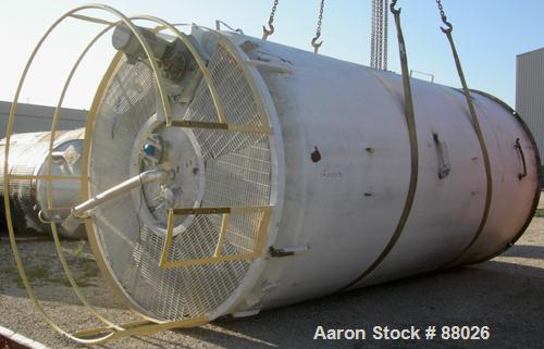 """USED: Mueller jacketed silo tank, model SVW. 10,000 gallon, 304 stainless steel, vertical. 120"""" diameter x 216"""" straight sid..."""