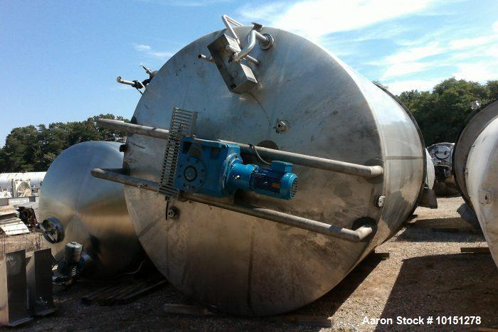 Used- Approximately 9,110 Gallon Vertical Jacketed Stainless Steel Tank. Manufacturer: Mueller. Jacket rated at 150 psi at 1...