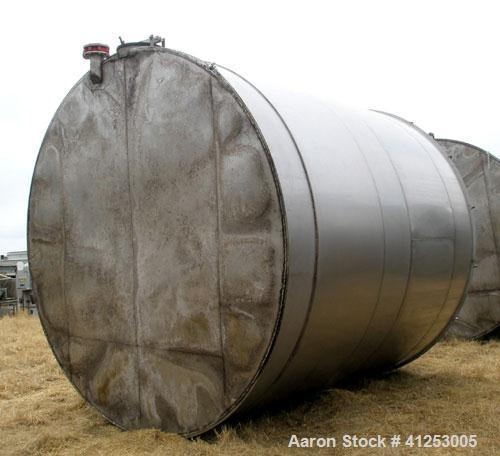 "Used- Winery Tank, 14,233 Gallon, 316 stainless steel, vertical. Approximately 156"" diameter x 180"" straight side, coned top..."