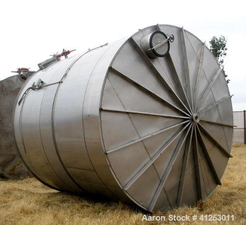 """Used- Winery Tank, 14,233 Gallon, 316 stainless steel, vertical. Approximately 156"""" diameter x 180"""" straight side, coned top..."""