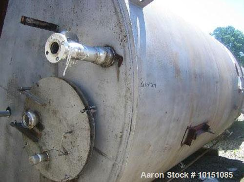 """Used-Approximately 8,000 Gallon Vertical 304 Stainless Steel Tank. 9'6"""" Diameter x 16'4"""" straight side. With bridge mounted ..."""