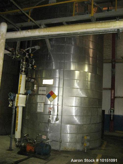 """Used-Approximately 8,000 Gallon Vertical 304 Stainless Steel Tank. 9'6"""" Diameter x 16'4"""" straight side. With flat top and bo..."""