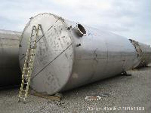 Used-Approximately 25,000 gallon vertical stainless steel tank.12' Diameter x 30' straight side.With dished top and sloped b...