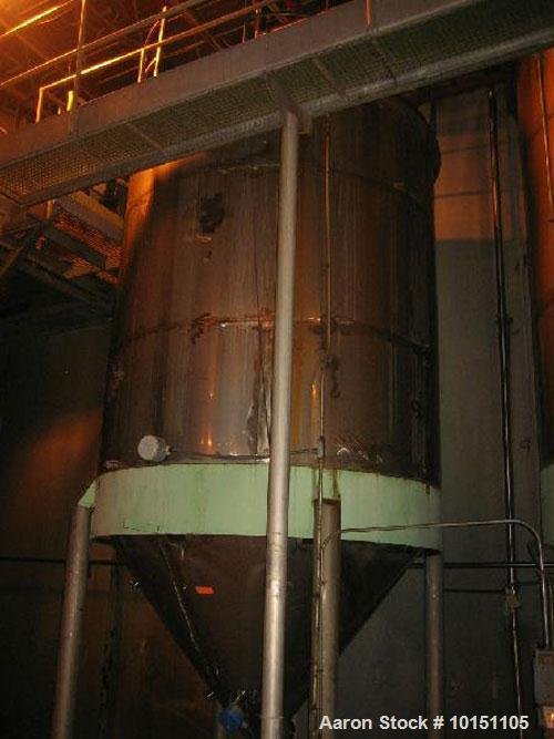 "Used-Approximately 5,000 gallon stainless steel tank.9' Diameter x 10'6"" straight side.With slight cone top and 6'6"" cone bo..."