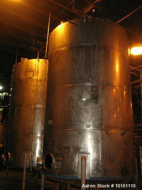 "Used-Approximately 8,800 gallon stainless steel storage tank.10' Diameter x 15' straight side.With slight cone top, 8"" cente..."