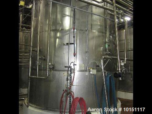 "Used-Approximately 10,000 gallon stainless steel tank.11'6"" Diameter x 12' straight side.Flat top with metal ring and sight ..."
