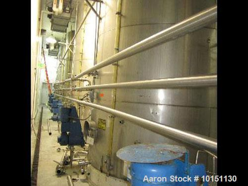 """Used-Approximately 8,000 gallon vertical stainless steel tank.9'6"""" Diameter x 15' straight side.With flat top and bottom hea..."""