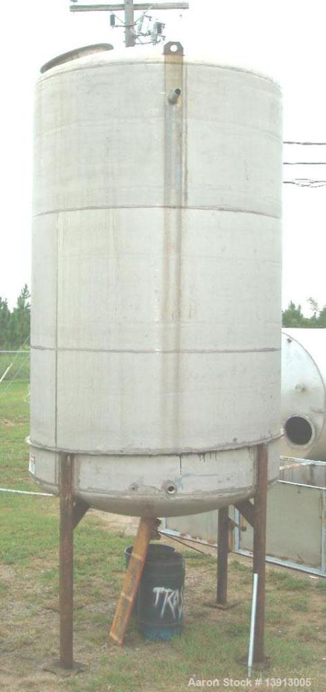 Used- Tank, 5000 Gallon, 316 Stainless Steel, Vertical. Approximately 8' diameter x 18' tall, Dome top and dish bottom. Top ...