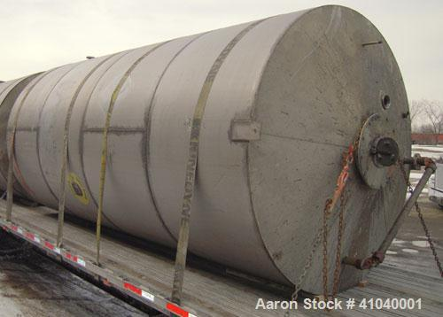 "Used- Tank, 6,000 Gallon, 304 Stainless Steel, Vertical.  Approximate 96"" diameter x 192"" straight side. Dish top, flat bott..."