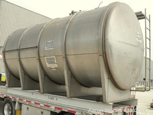 "Used- Florida Tank and Container Pressure Tank, 6000 gallon, 316L stainless steel, horizontal. 96"" diameter x 180"" straight ..."