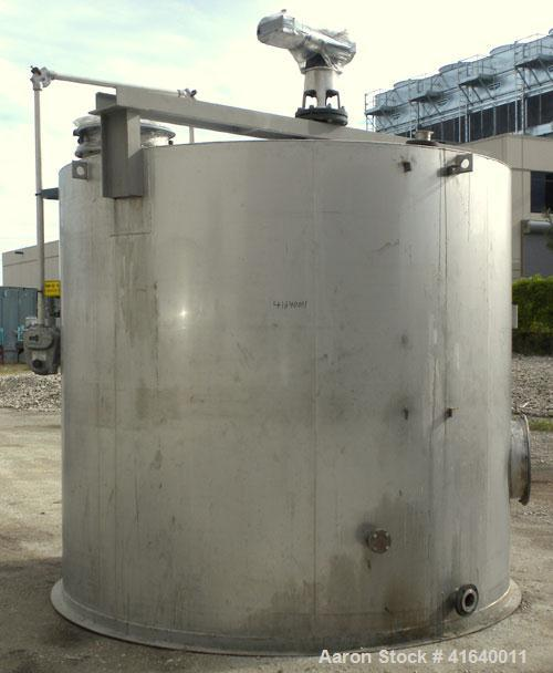 "Used- Bendel Tank, 5,000 Gallon, 304 Stainless Steel, Vertical. 118"" diameter x 108"" straight side, coned top, sloped bottom..."