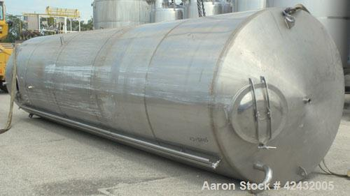 """Used- Tank, Approximately 5,000 Gallon / 19,220 Liter, 304 Stainless Steel, Vertical. 72"""" Diameter x 288"""" straight side, dis..."""