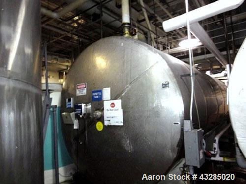 """Used- Tank, 8500 Gallon, Stainless Steel, Horizontal.  Approximately 96"""" diameter x 264"""" straight side.  Slight coned ends. ..."""