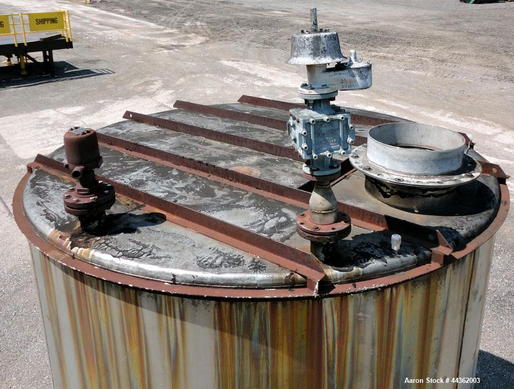 Used- Tank, 5100 Gallon, 304 Stainless Steel, Vertical. Approximately 114 diameter x 116 straight side, flat top, sloped bot...