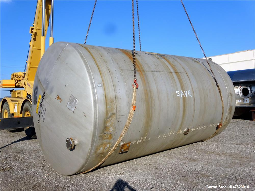 Used- Tank, Approximate 13,000 Gallon, 304 Stainless Steel, Horizontal.
