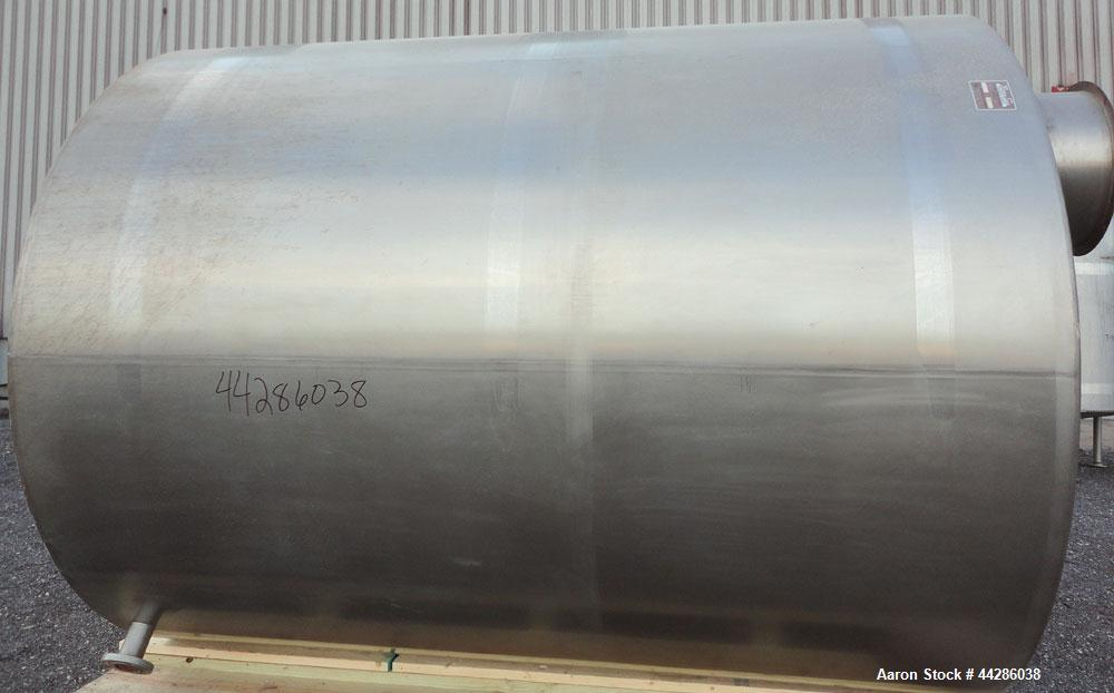 """Used- Perma-San Tank, 5000 Gallon, 316 Stainless Steel, Vertical. 108"""" Diameter x 130"""" straight side, cone top, flat bottom...."""