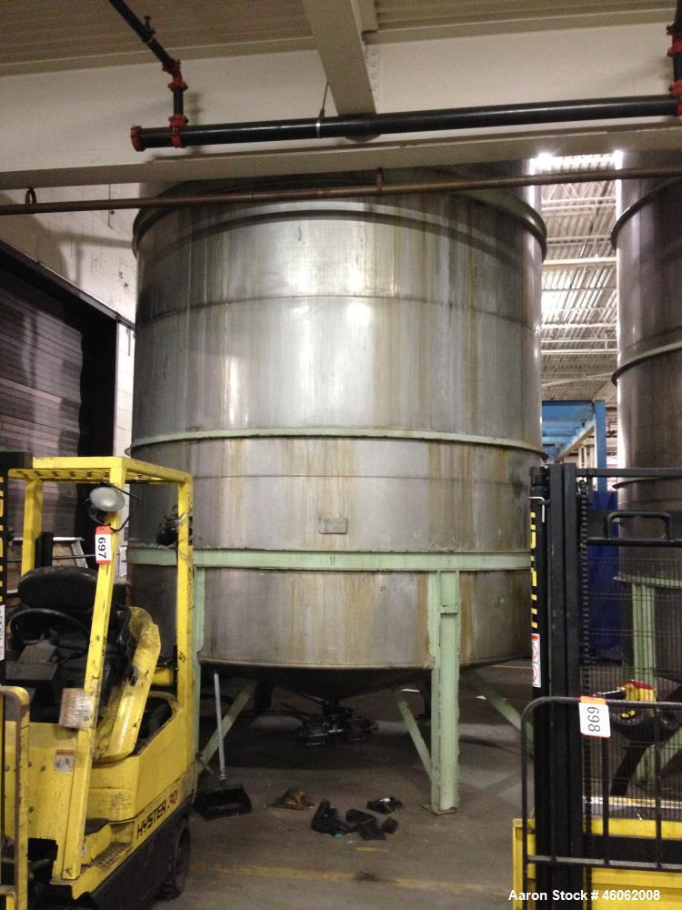 Used- Perry 10,500 Gallon 316 Stainless Steel Storage Tank. Approx. 11' Diameter x 14' Straight Side. Cone Bottom. Mounted o...