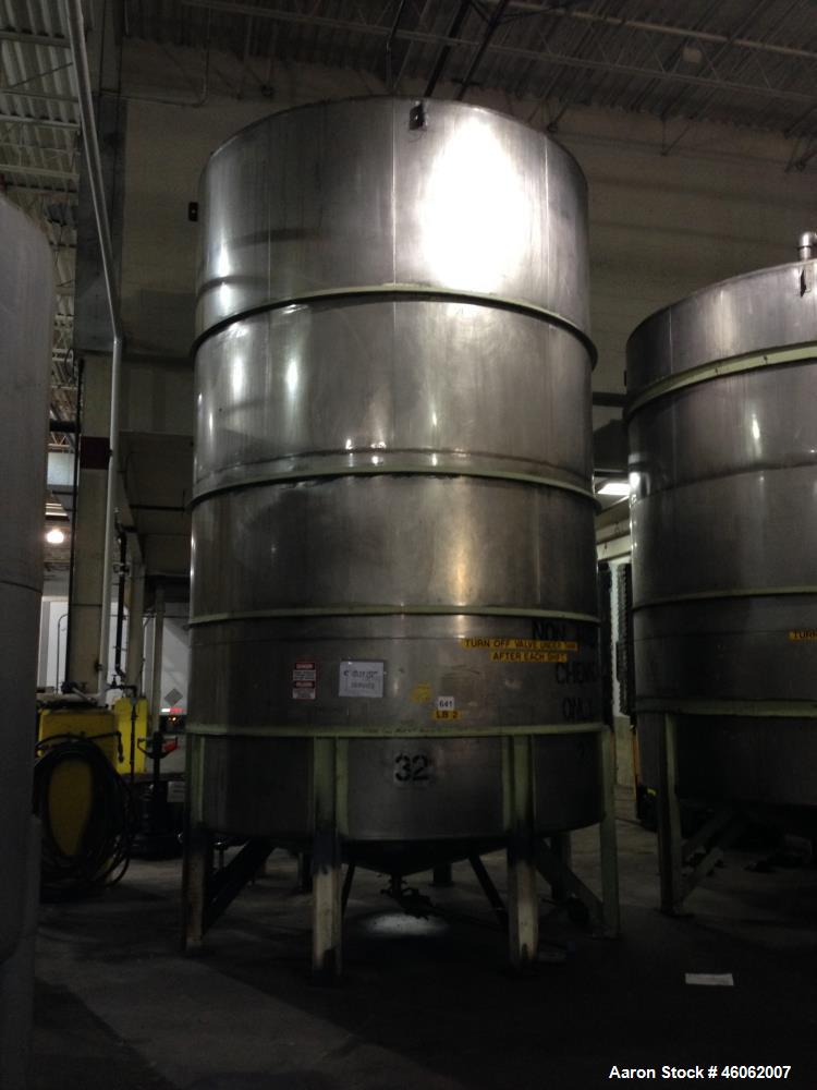 Used- Perry 10,400 Gallon 316 Stainless Steel Storage Tank.