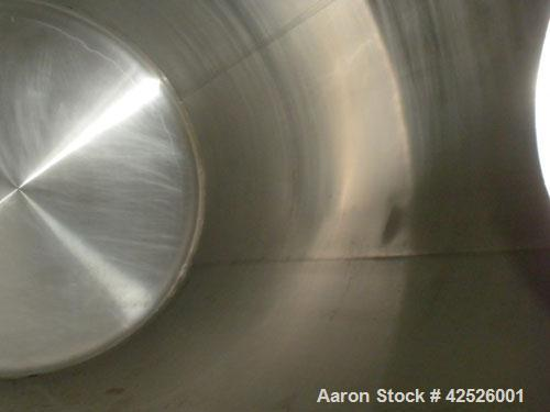 """Used- Pfaudler Cold Wall Tank, 5,000 Gallon, 304 Stainless Steel, Horizontal. 96"""" Diameter x 150"""" straight side, dished head..."""