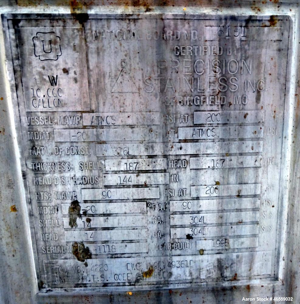Used- Precision Stainless Mixing Tank, 10,000 Gallon, 316L Stainless Steel, Vert
