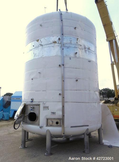 Used- Price Schonstrom (PSI) Pressure Tank, 12,900 Gallon, 304 Stainless Steel, Vertical. 144'' Diameter x 168'' straight si...