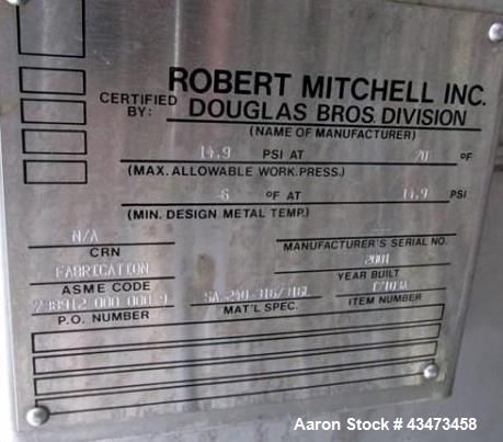 """Used- Robert Mitchell Pressure Tank, 10,000 Gallon, 316L Stainless Steel, Vertical. Approximate 120"""" diameter x 192"""" straigh..."""