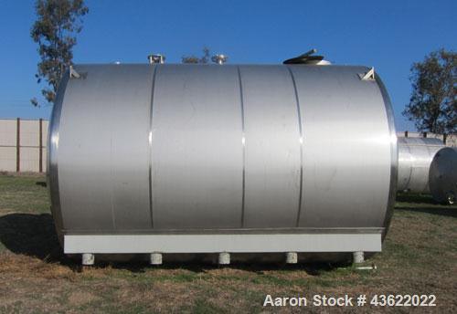 "Used- Santa Rosa 10,000 Gallon Stainless Steel Horizontal Storage Tank. Approximately 10'6"" diameter x 14'6"" straight side. ..."