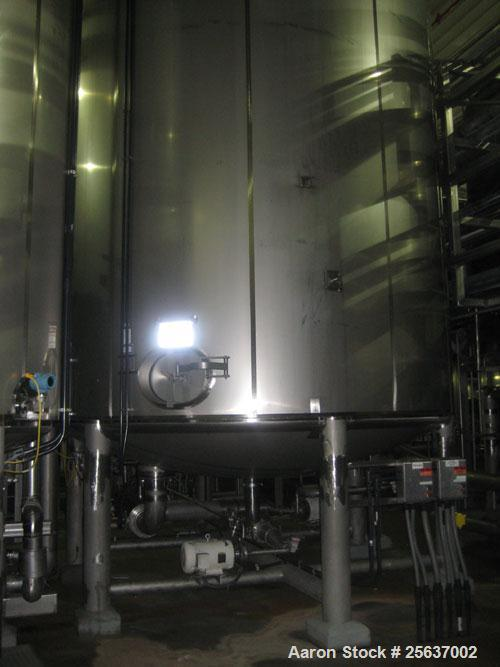 "Used- Stainless Fabrication Tank, 15,000 gallon, 316L stainless steel. 158"" diameter x 167"" straight side, dished top and bo..."